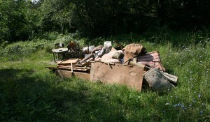 Изхвърля мебели от къща